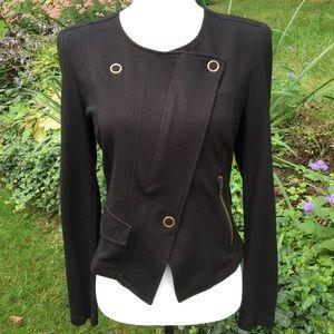 CAbi Black Asymmetrical Zipper Jacket